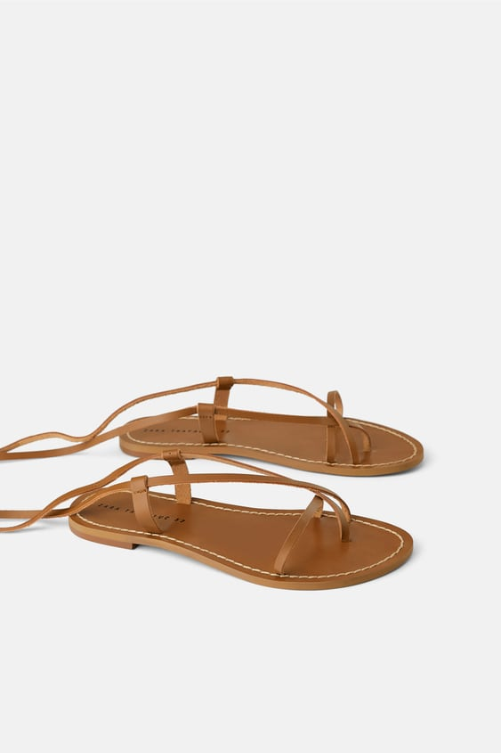 bf67a0586b005 LOW - HEELED STRAPPY LEATHER SANDALS-SHOES-SALE-WOMAN | ZARA United ...