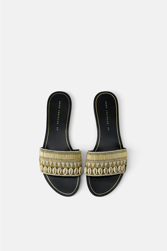 Flat Sandals With Seashells New In Shoes Woman by Zara