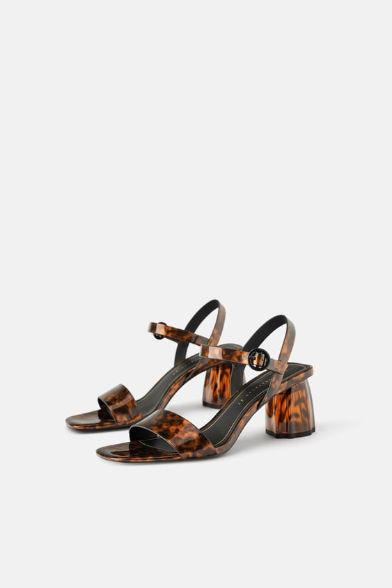 Tortoiseshell Wide Heeled Sandals Party Shoes Shoes Woman by Zara