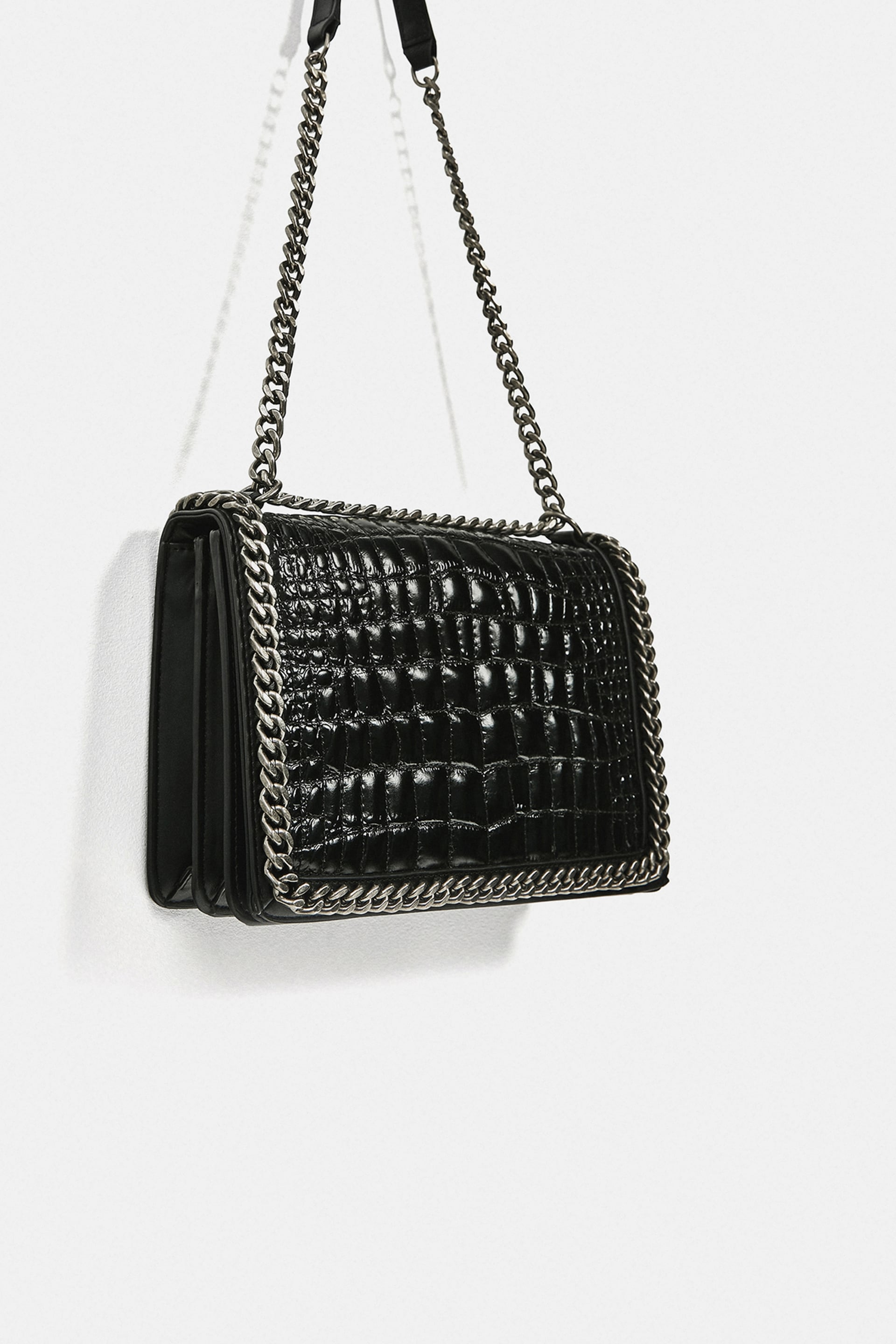 Crossbody Bag With Embossed Chain Leather Bags Woman by Zara