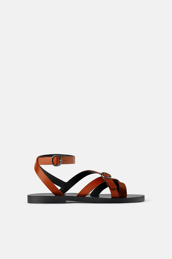 d1ae9bc672e FLAT LEATHER SANDALS WITH CRISS-CROSS STRAPS