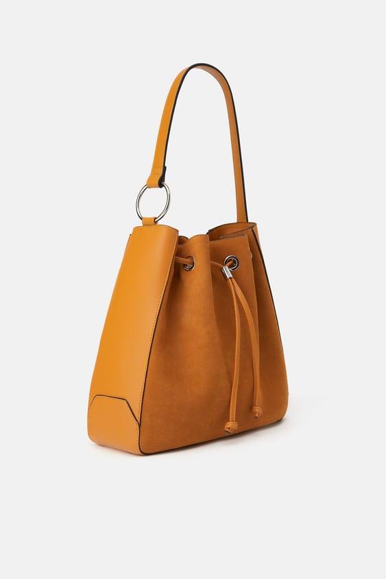 Leather Bucket Bag Shoulder Bags Bags Woman by Zara