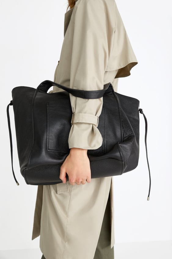 Leather Shopper Large Bags Bags Woman by Zara