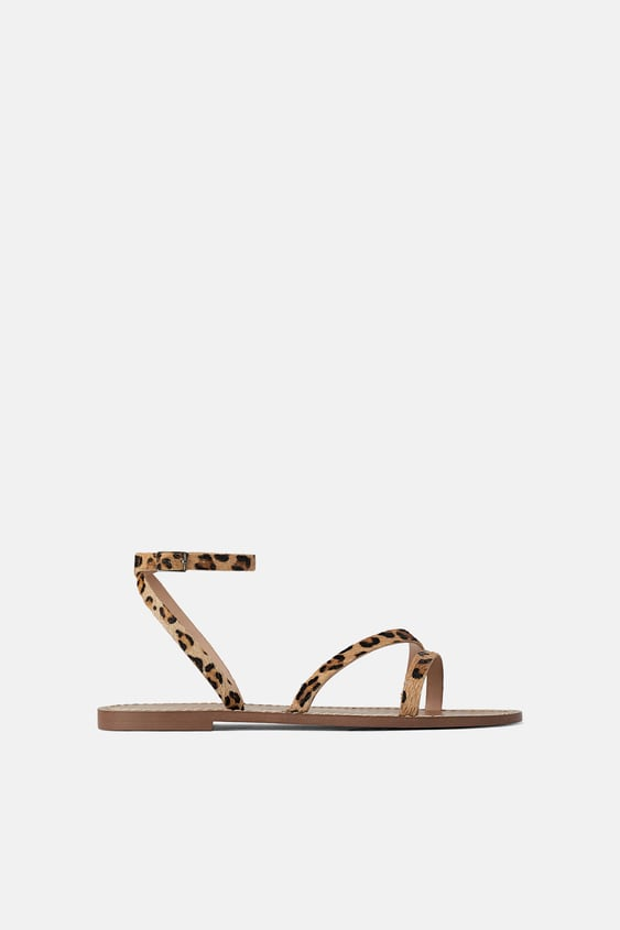 2974101c93c ANIMAL PRINT LEATHER FLAT SANDALS