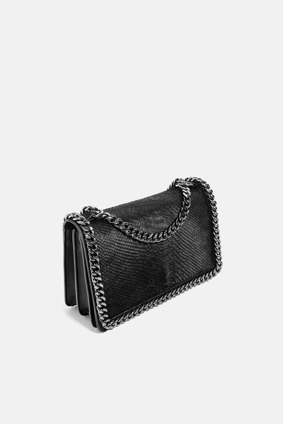 bca8596577a2 EMBOSSED CHAIN - TRIMMED BAG-Shoulder bags-BAGS-WOMAN