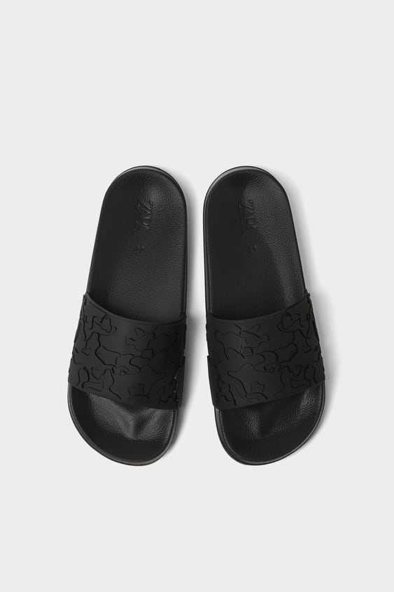 Slide Sandals With Raised Design View All Shoes Man by Zara