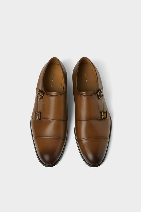 Leather Double Monk Strap Shoes Leather Shoes Man Zara United