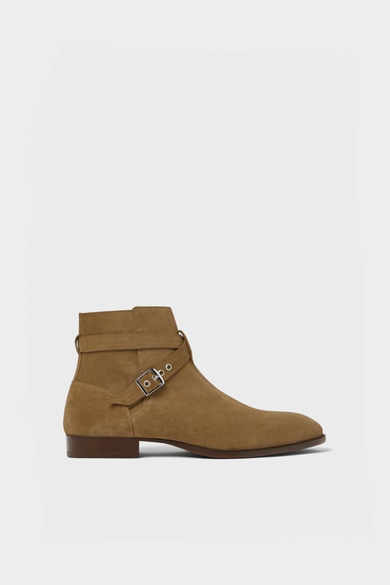 Buckled Leather Boots  Boots And Chelsea Boots Shoes Man by Zara