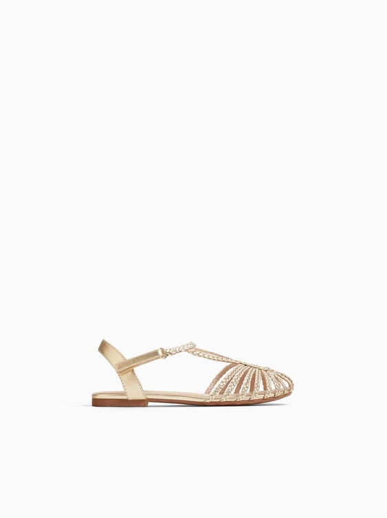 Embellished Cage Sandals  Flat Shoes Girl Shoes Kids by Zara