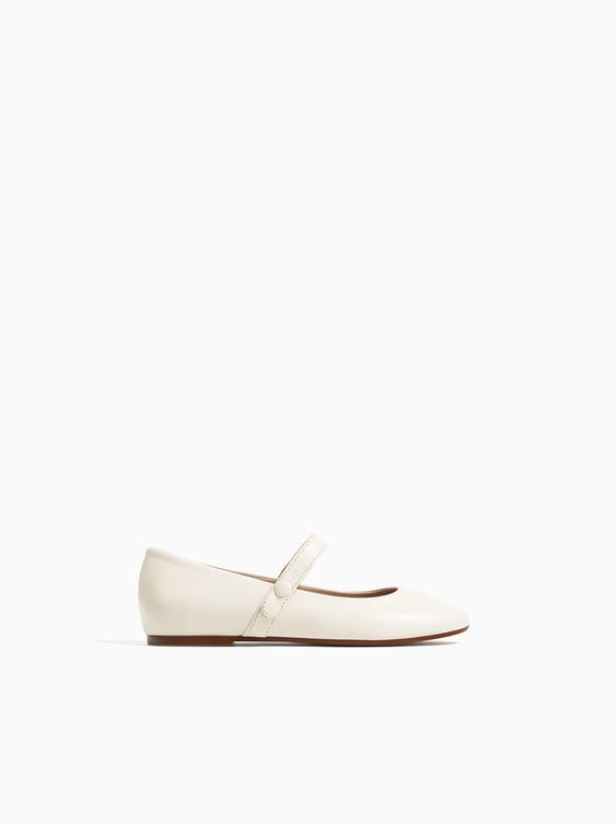 545394c1eaf LEATHER BALLERINAS WITH ANKLE STRAP