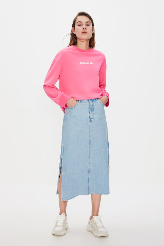 f50a411c0fb Image 1 of DENIM MIDI SKIRT WITH SLITS from Zara