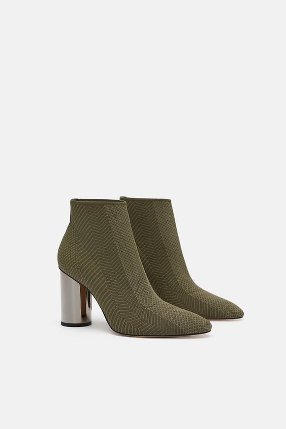 fa2f8d96de1 FABRIC ANKLE BOOTS WITH METALLIC HIGH HEELS