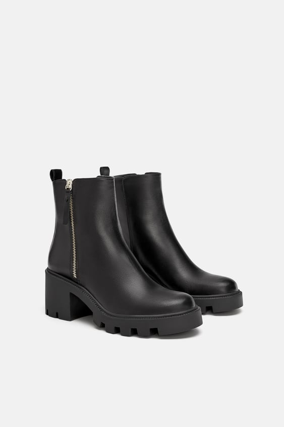 Leather Track Sole Ankle Boots With Lining  Ankle Boots Shoes Woman by Zara