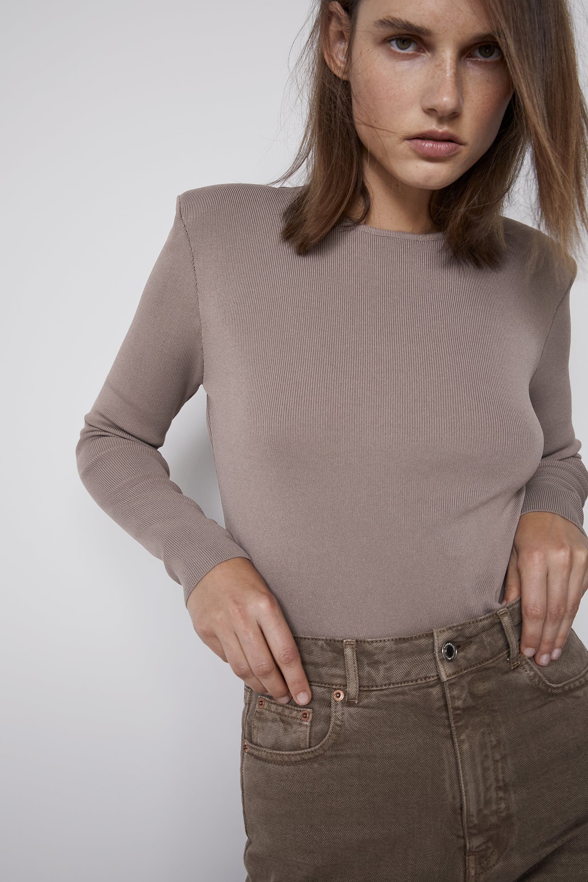 Details about  /ZARA NEW WOMAN RIBBED KNIT SWEATER WITH SHOULDER PADS BONE S-XL 5536//131