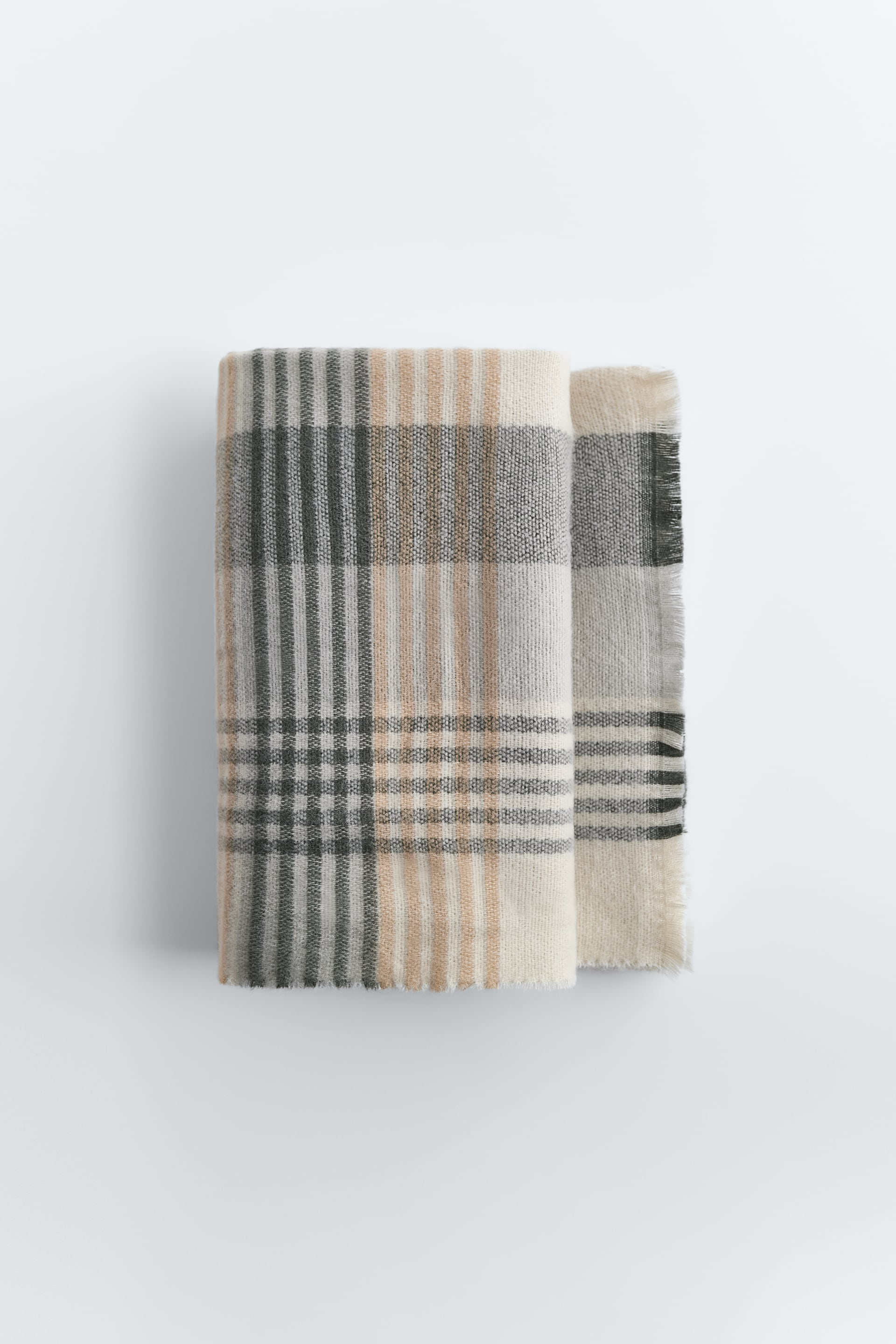 Ladies ZARA LARGE Brown CHECKED SCARF Plaid SOFT TOUCH Wrap Womans