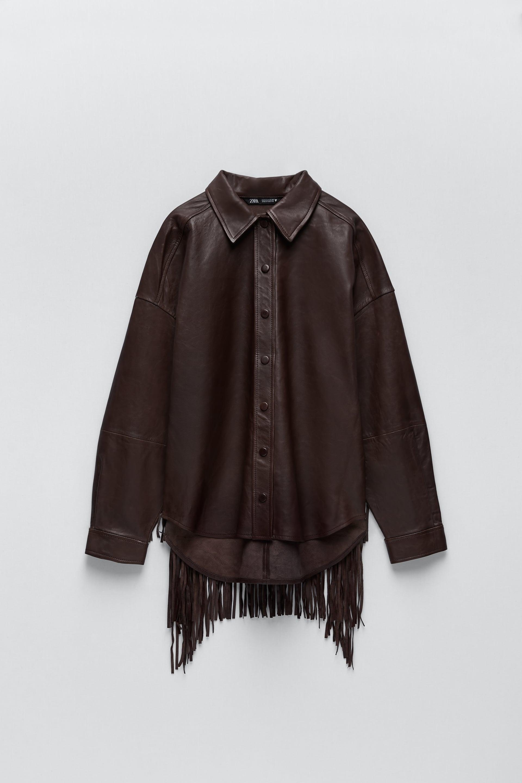 Image 3 of FRINGED LEATHER OVERSHIRT from Zara