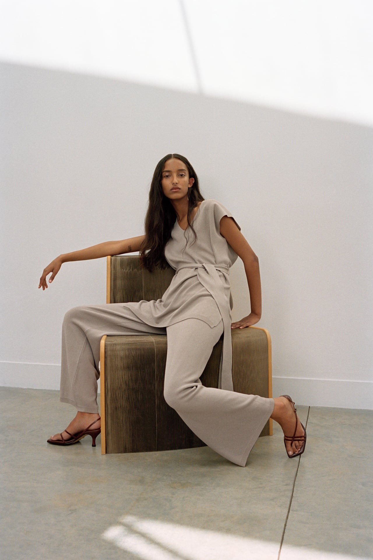 Image 1 of WIDE-LEG KNIT TROUSERS from Zara