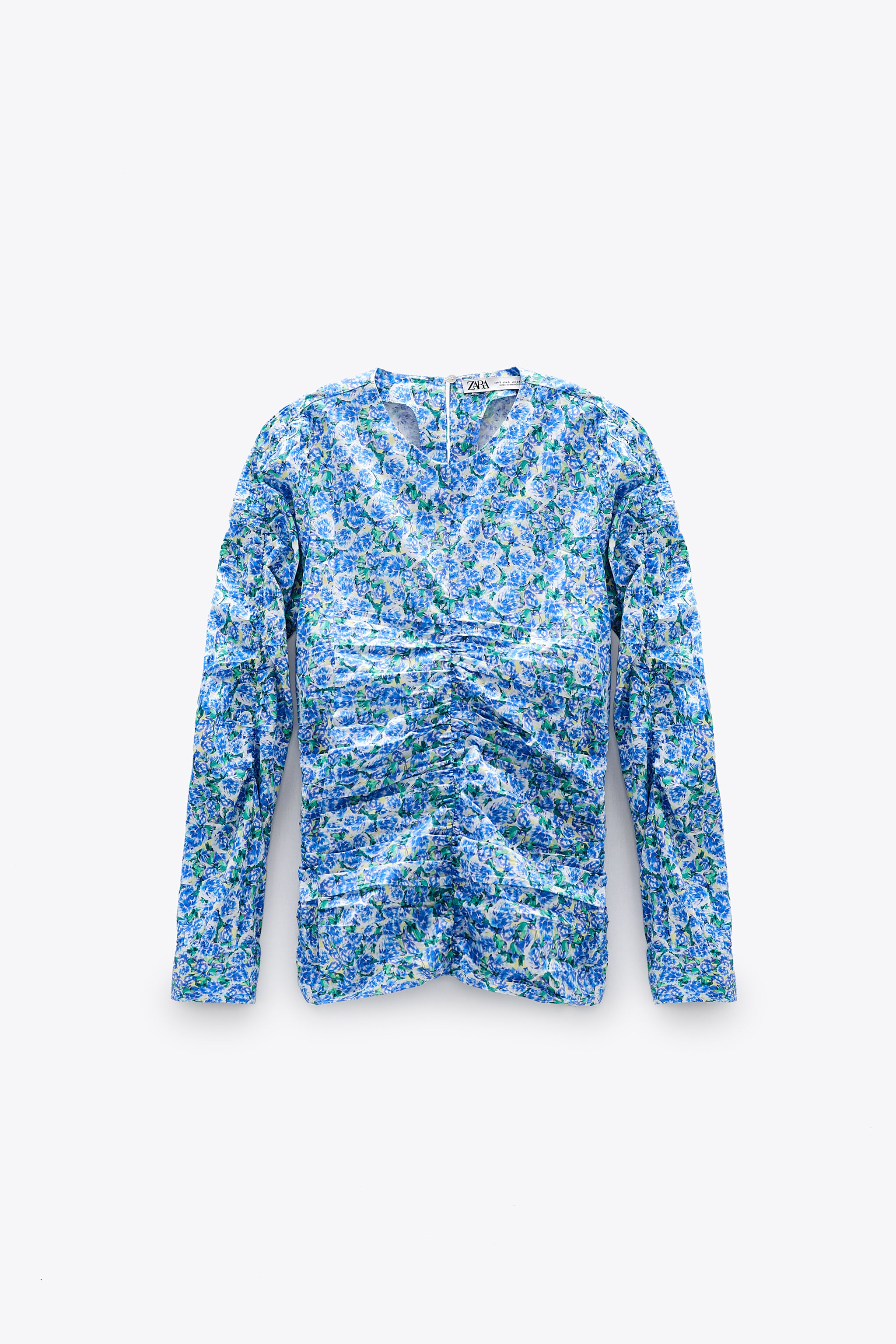 PRINTED BLOUSE WITH GATHERED DETAILS zara