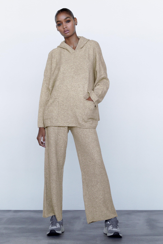 Pantalon Large En Maille Zara France