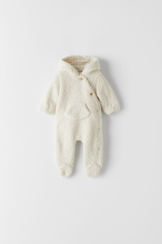 Faux shearing baby one piece