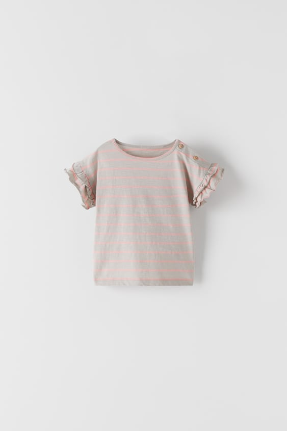 STRIPED T-SHIRT WITH DOUBLE FRILL