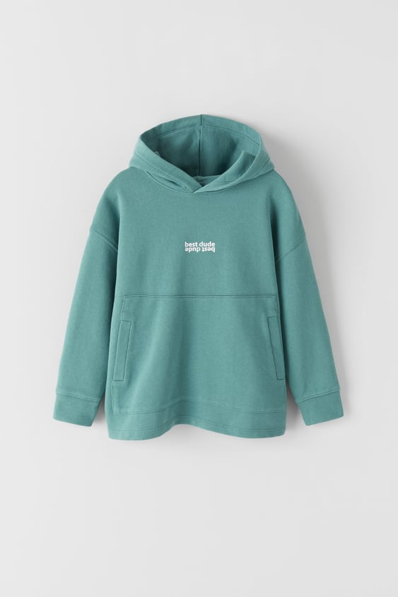 SLOGAN HOODIE WITH POUCH POCKET