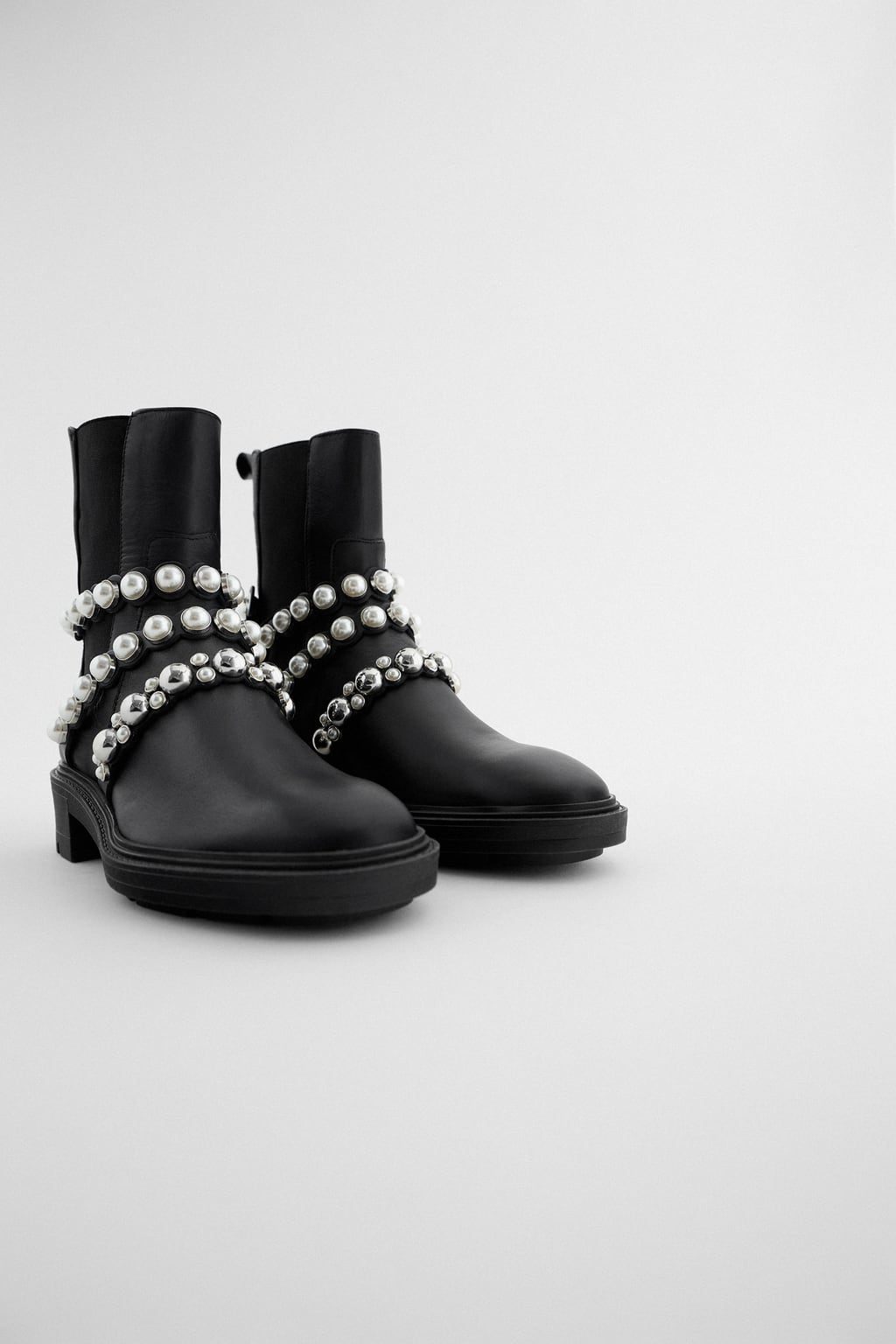 Image 2 of PEARL STRAP LOW HEELED LEATHER ANKLE BOOTS from Zara