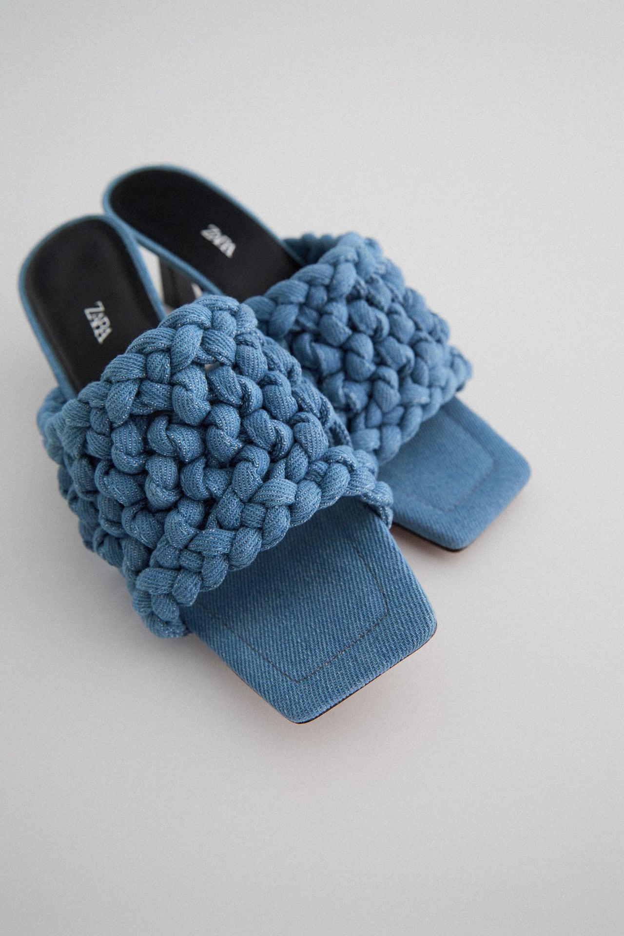 Image 3 of WOVEN HEELED DENIM SANDALS from Zara