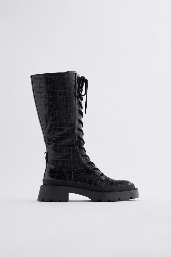 LACE-UP KNEE-HIGH BOOTS WITH ANIMAL PRINT TRF