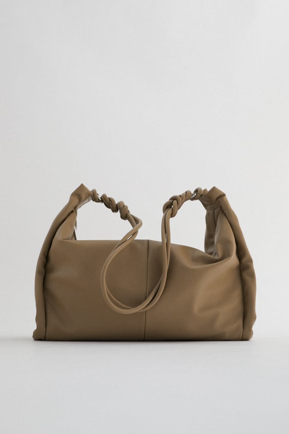 TOTE BAG WITH GATHERED SIDE DETAIL