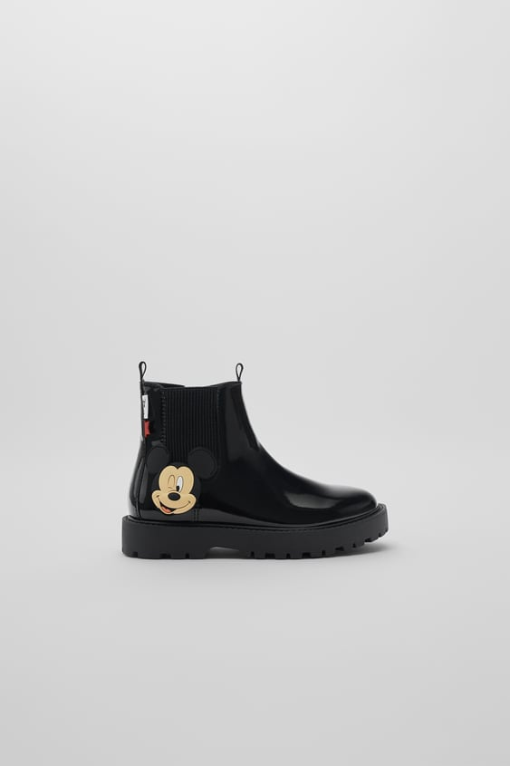 MICKEY MOUSE © DISNEY FAUX PATENT FINISH ANKLE BOOTS