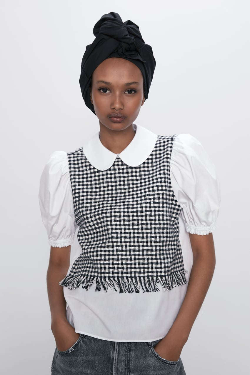 Image 1 of BLOUSE WITH CONTRAST TWEED DETAIL from Zara