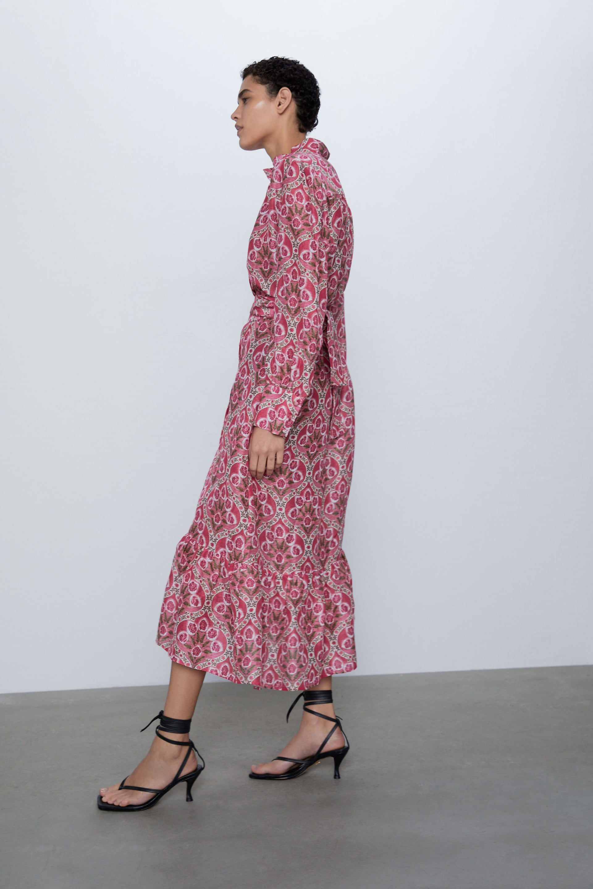ZARA NEW WOMAN MIDI FLORAL PRINTED MIDI DRESS BELT RUFFLED PINK XS-XXL  2731//070