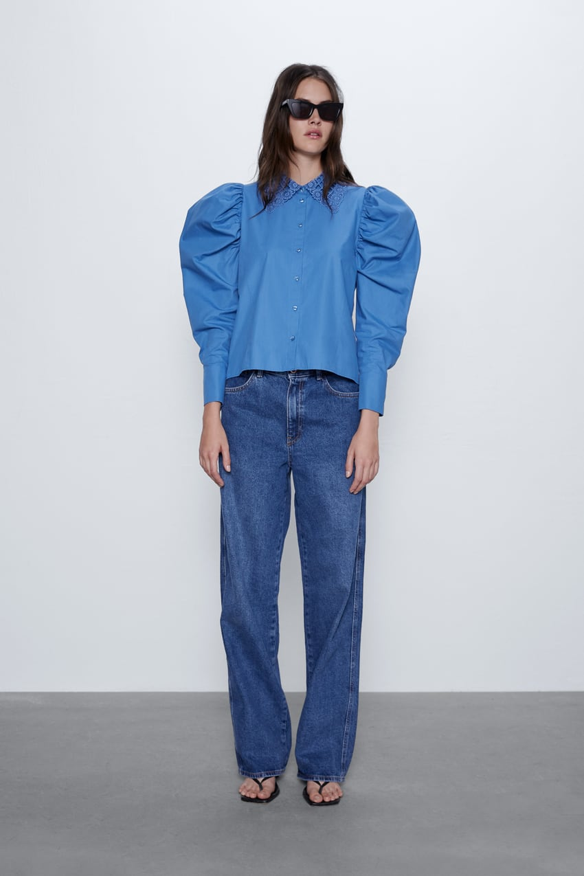 Image 1 of SHIRT WITH CROCHET COLLAR from Zara