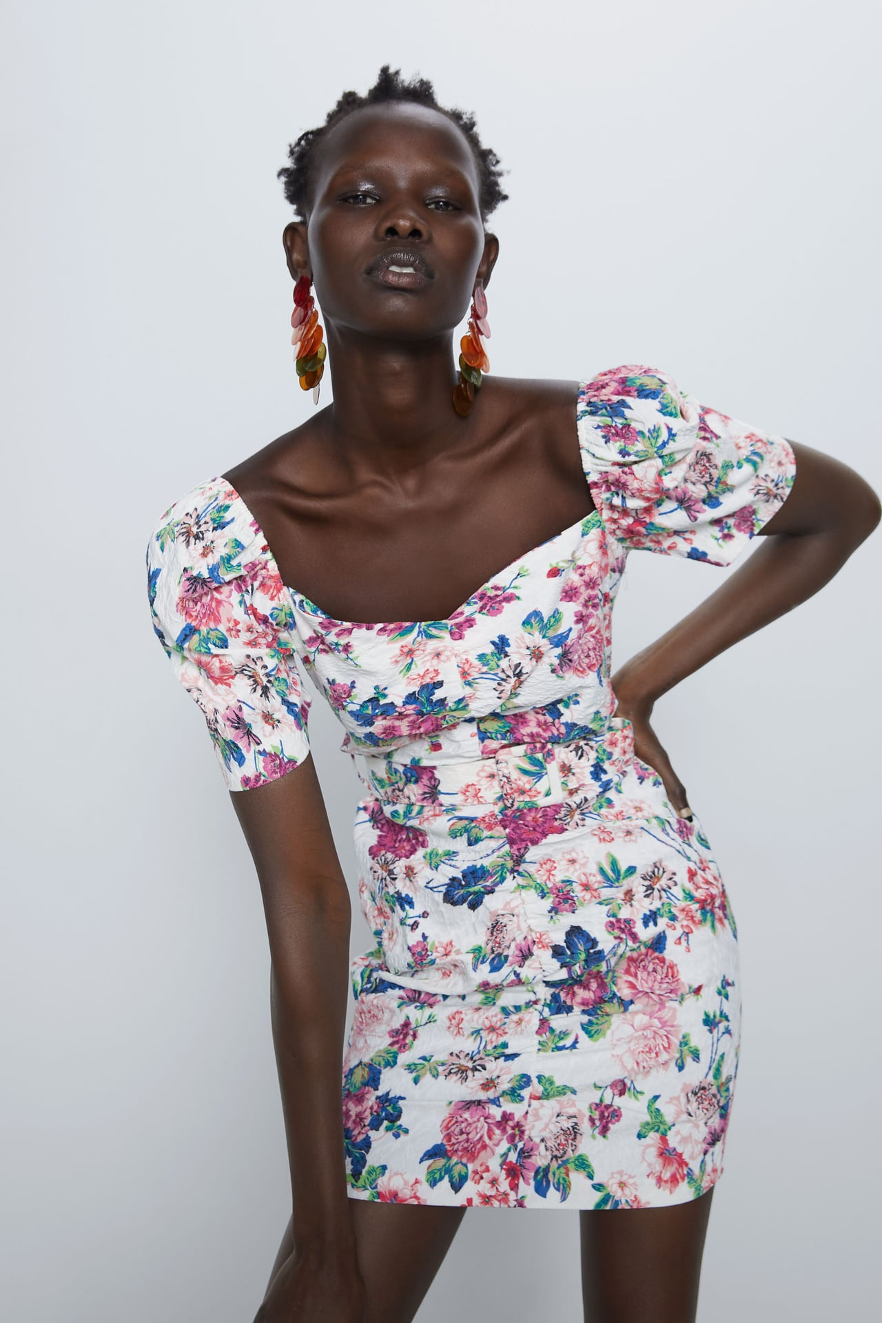 Image 2 of FLORAL DRESS WITH BELT from Zara