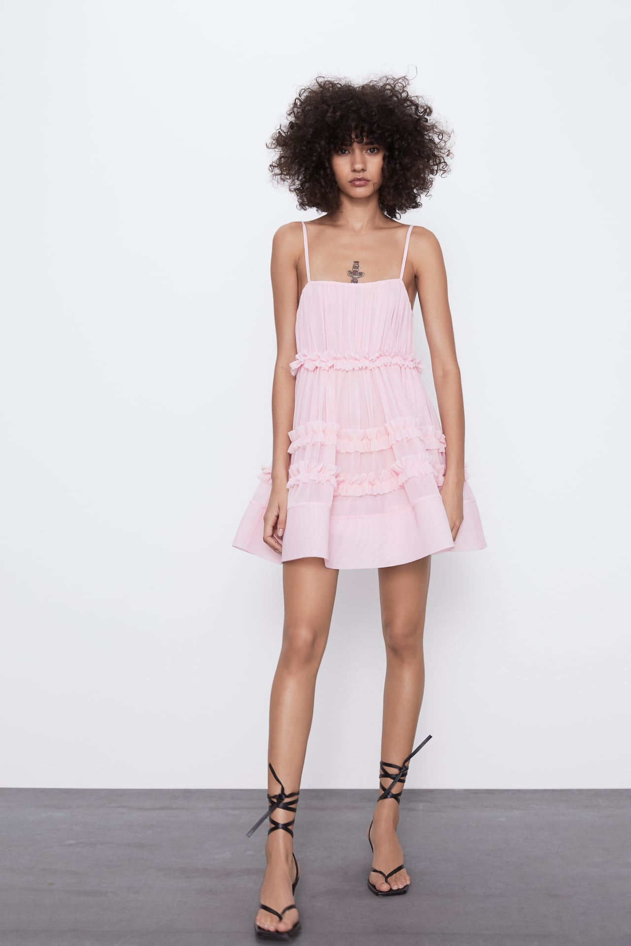 Image 1 of DRESS WITH TULLE FRILLS from Zara