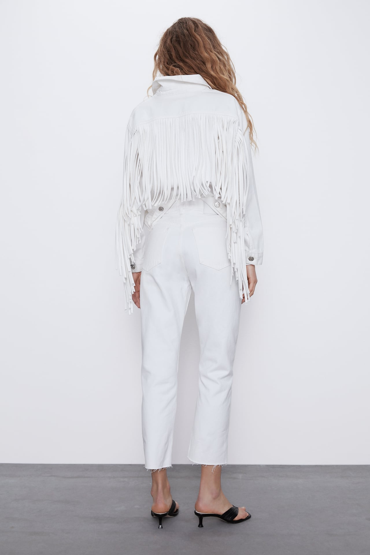 Image 5 of FRINGED DENIM JACKET from Zara
