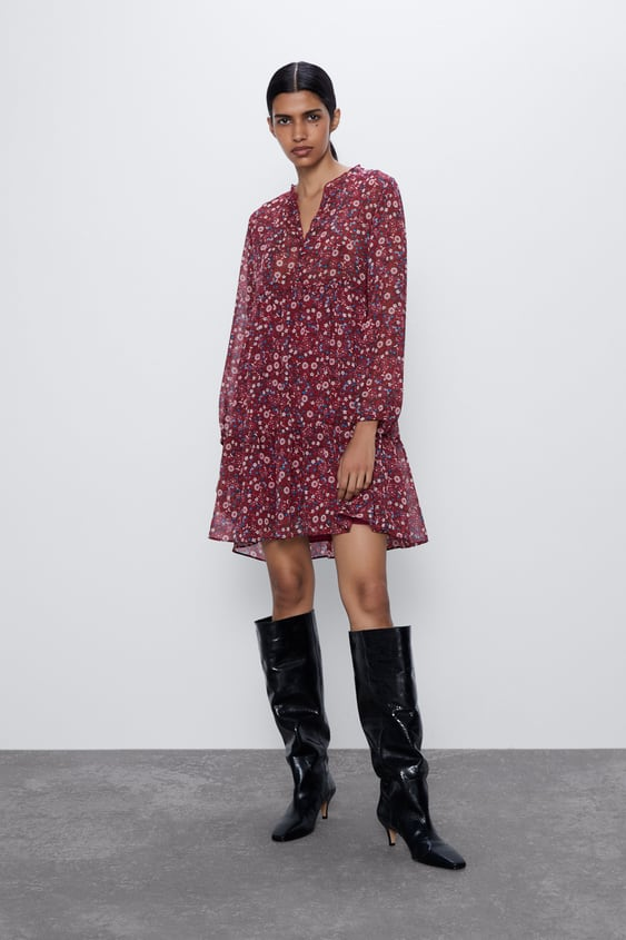 PRINTED DRESS WITH GEM BUTTONS