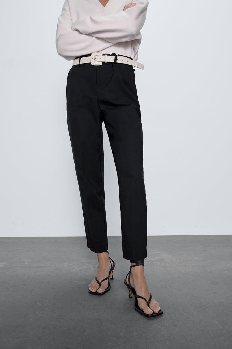pantalon cigarette femme noir zara