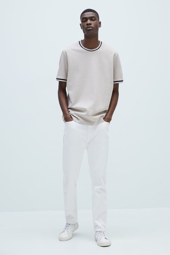 TEXTURED T-SHIRT WITH RIBBED TRIMS