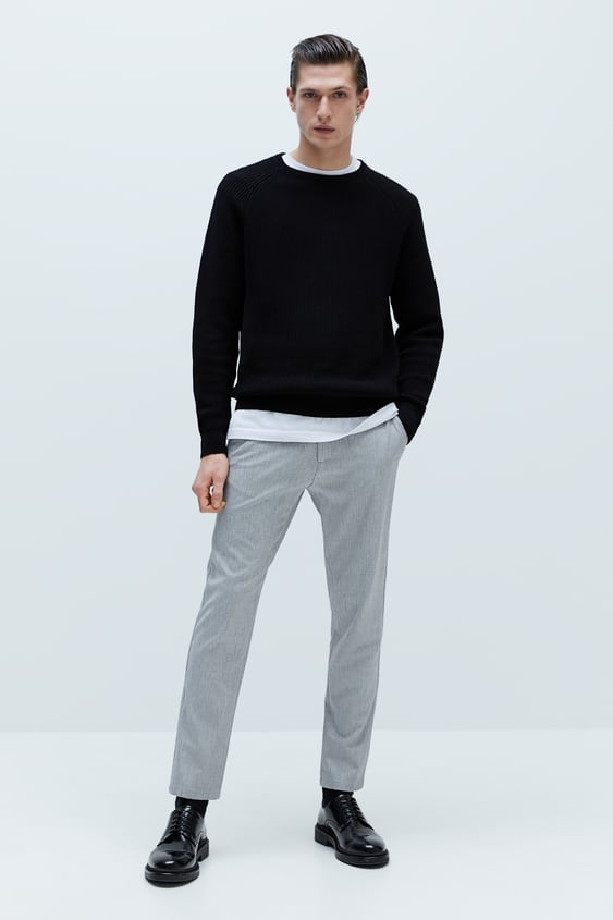 SLIM FIT HEATHERED TROUSERS