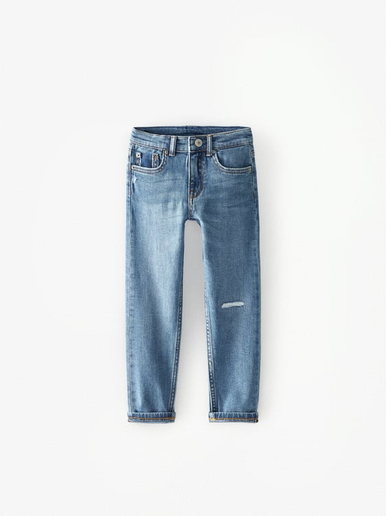 INDIGO SKINNY JEANS WITH PATCHES
