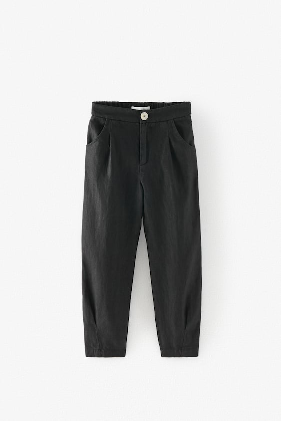 DARTED LINEN TROUSERS