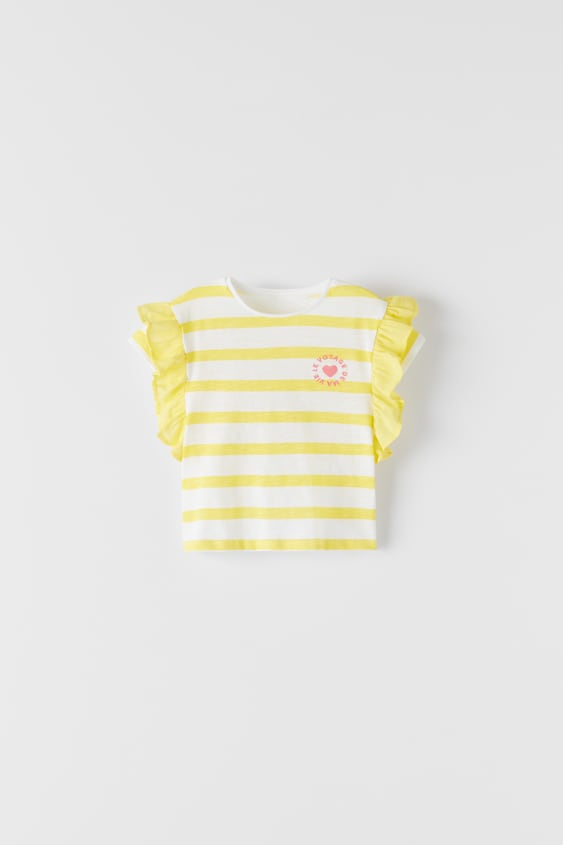 STRIPED T-SHIRT WITH RUFFLE TRIMS