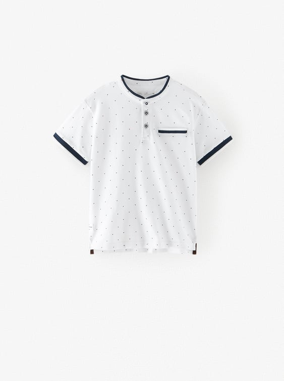 STAND-UP COLLAR POLO SHIRT WITH POLKA DOTS