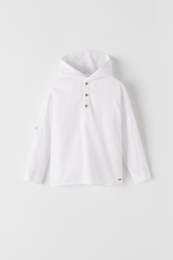 HOODED SHIRT WITH ROLL-UP SLEEVES