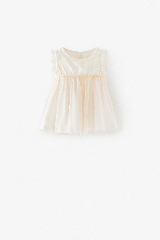 CONTRASTING TULLE T-SHIRT