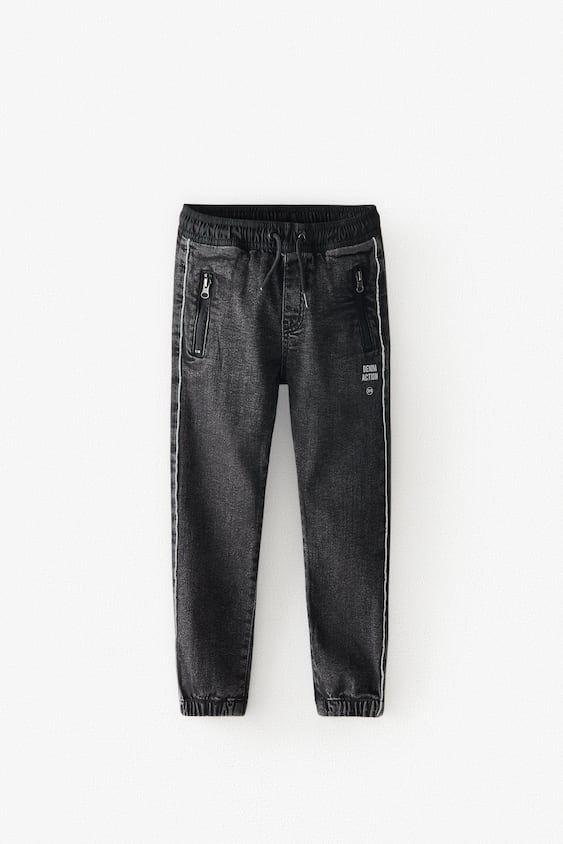 ACTIVE BLACK JOGGER JEANS WITH SLOGAN