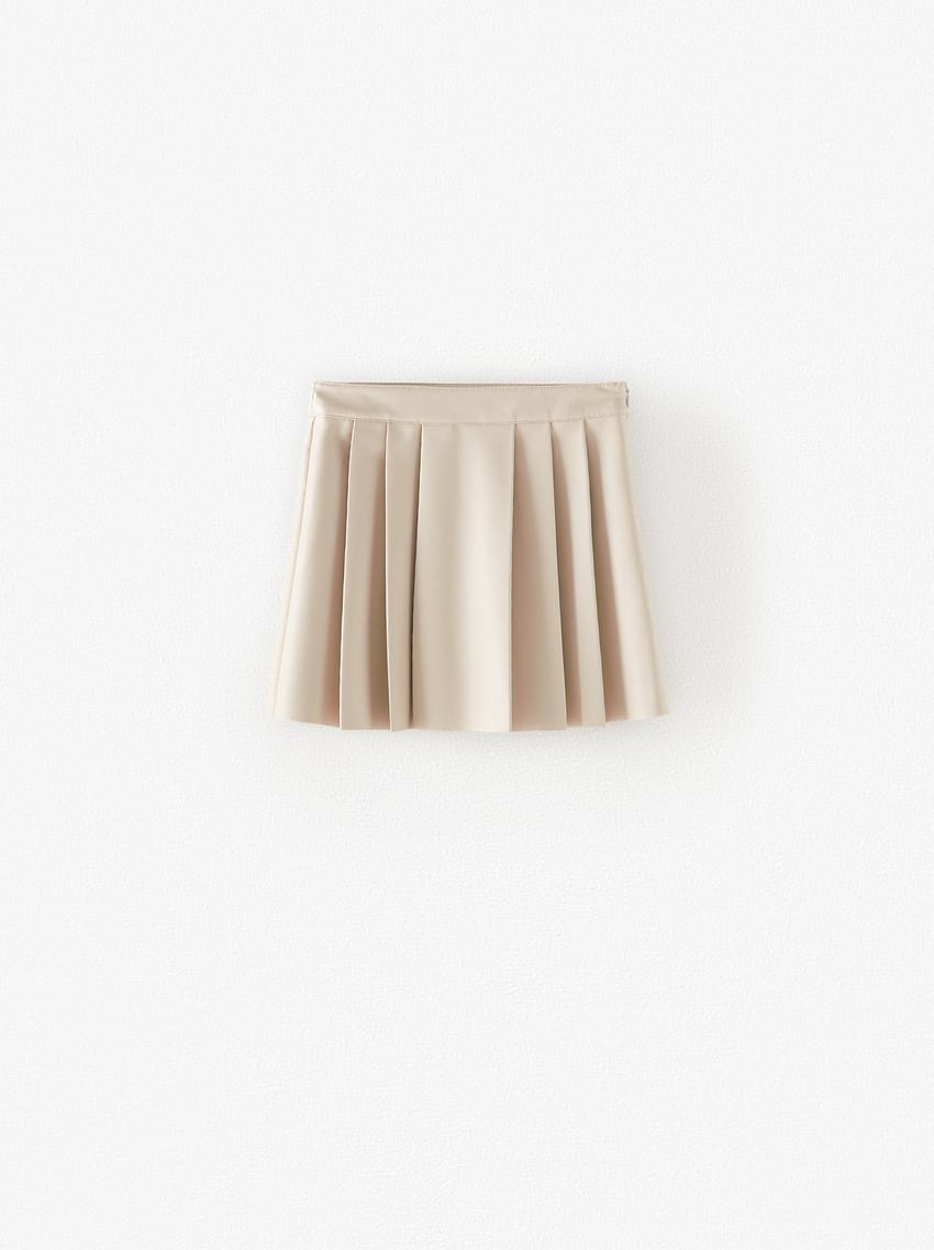 FAUX LEATHER SKIRT WITH BOX PLEATS