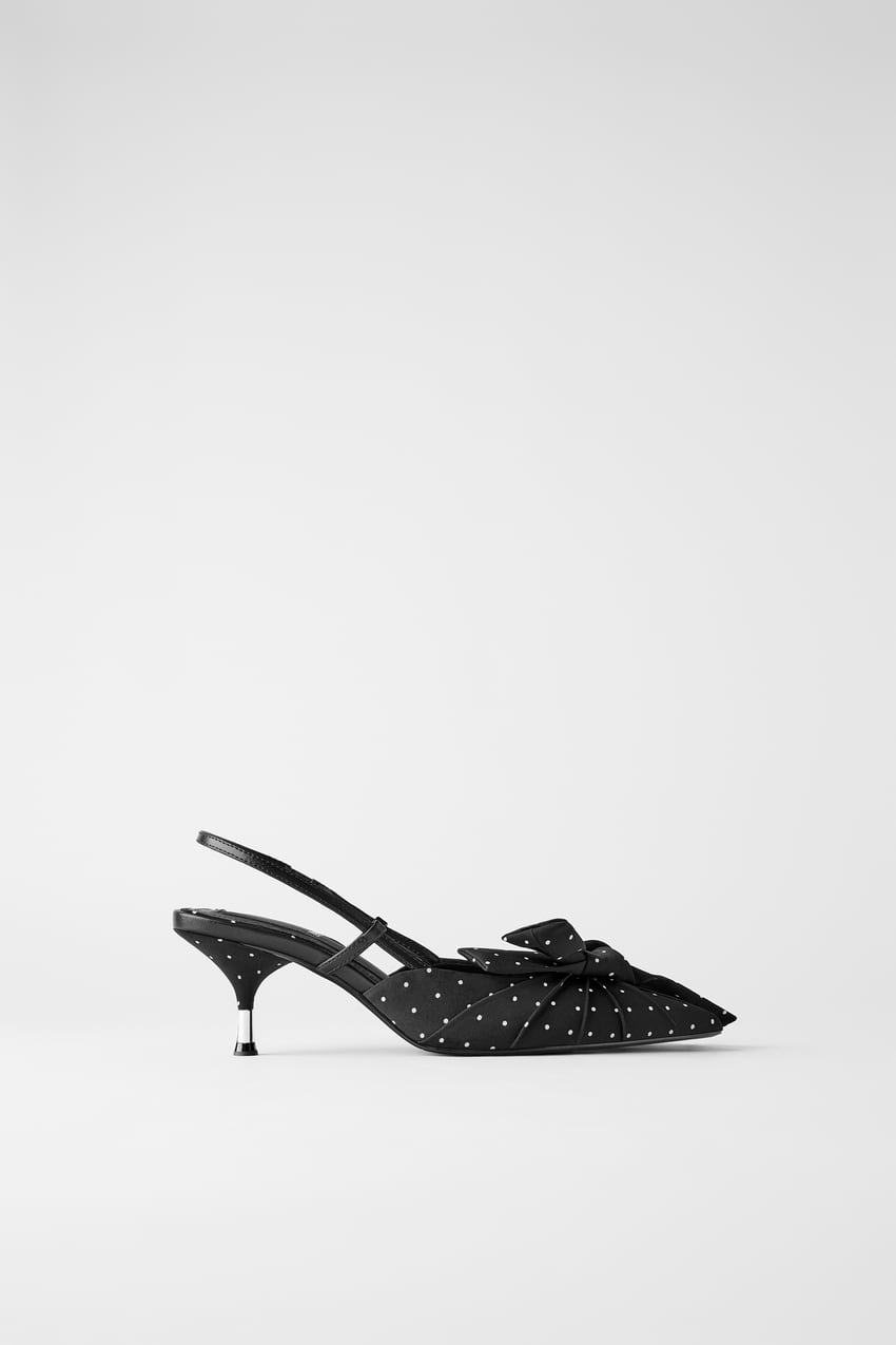 Image 1 of POLKA DOT KITTEN-HEEL SHOES WITH BOW from Zara